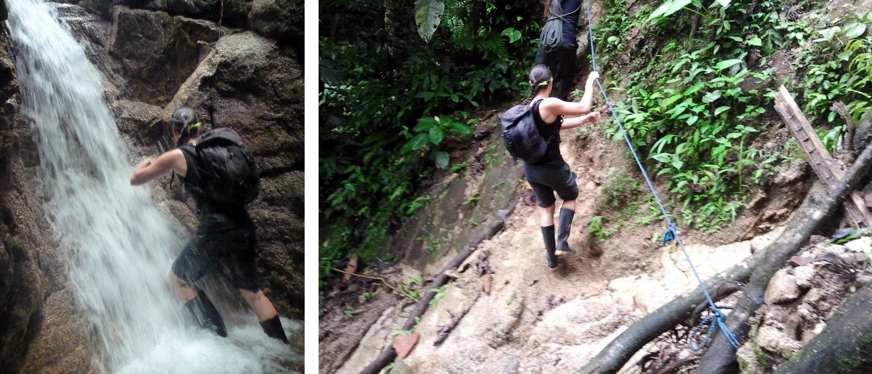 Unterwegs entlang eines Flussbetts im Regenwald von Ecuador.