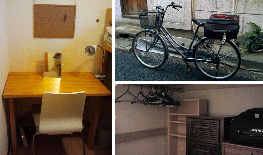 Mein Zimmer mit viel Platz unterm Bett und mein neues Fahrrad.