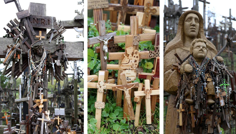 Auch Figuren werden reichlich behangen mit anderen Kreuzen oder Rosenkränzen.