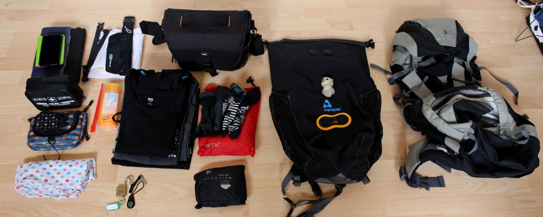 Meine Ausrüstung kurz vorm Einpacken.